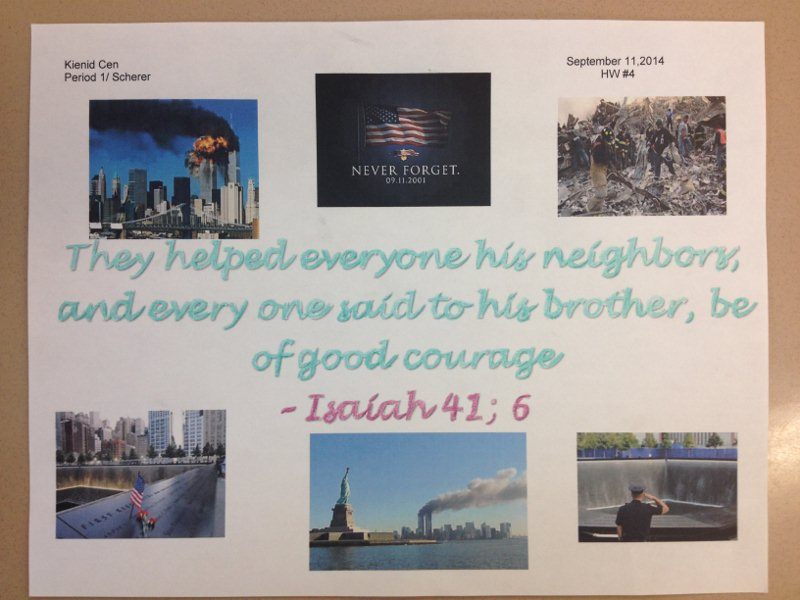 Mr. Scherer's Class Focuses on 9/11